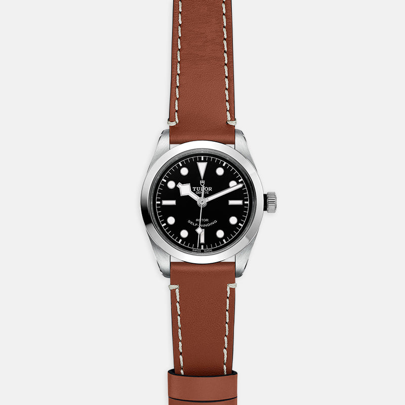 TUDOR Black Bay 36<br> Black Dial<br> Brown Leather Strap