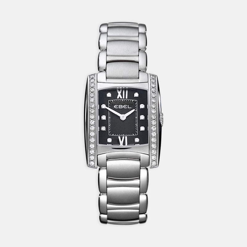 Ladies Ebel Brasilia <br> Black Dial<br> Stainless Steel Bracelet