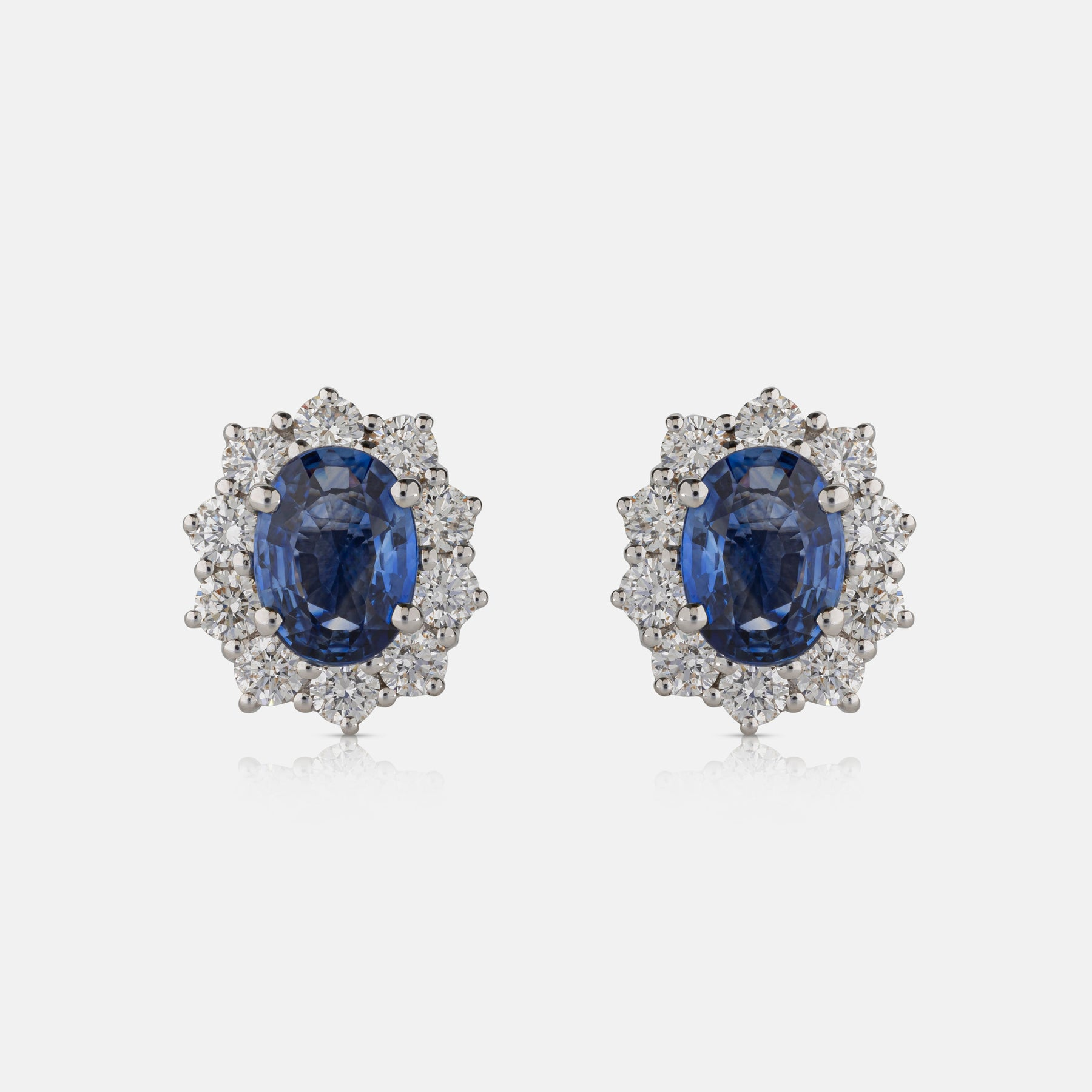 Oval Sapphire Stone,<br> Diamond Cluster Earring,<br> 18ct White Gold