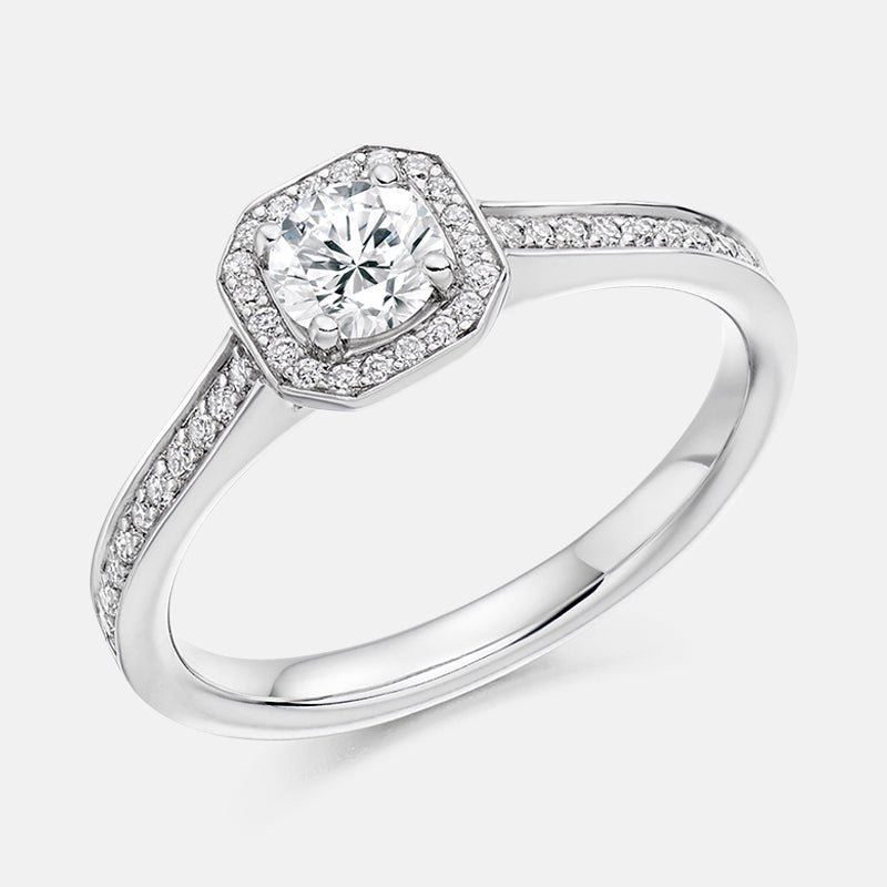 Round Cut,<br> Diamond Halo,<br> Platinum Engagement Ring