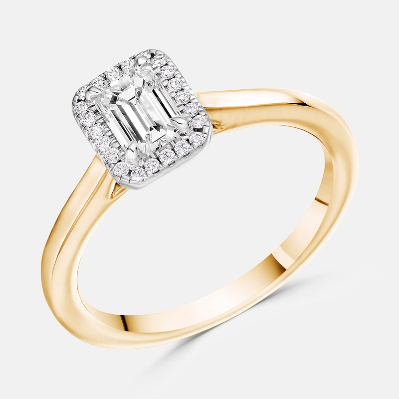 Emerald Cut <br>Diamond Halo,<br> 18ct Rose Gold Engagement Ring