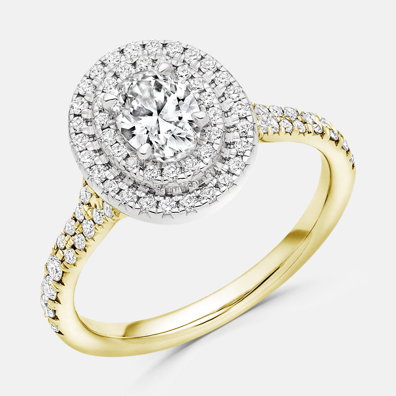 Oval Cut,<br> Double Diamond Halo,<br> 18ct Yellow Gold Engagement Ring