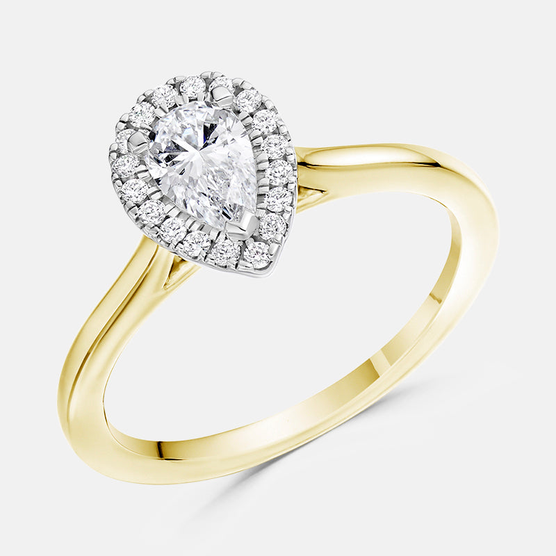 Pear Cut Diamond Halo,<br> Plain Band,<br> 18ct Yellow Gold Engagement Ring