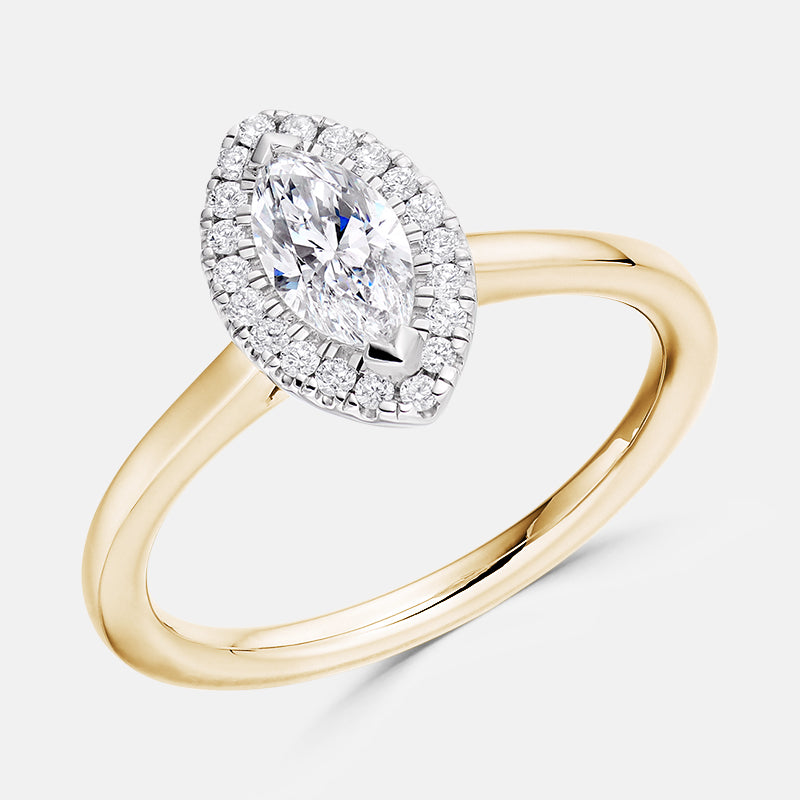 Marquise Cut Diamond Halo,<br> Plain Band,<br> 18ct Rose Gold Engagement Ring