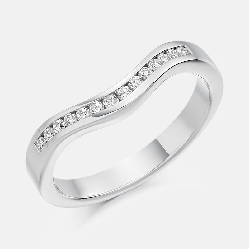 0.16ct Diamond,<br> Channel Set,<br> Platinum Wedding Ring