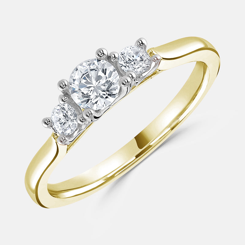 Three Stone,<br> Plain Band,<br> 18ct Yellow Gold Engagement Ring