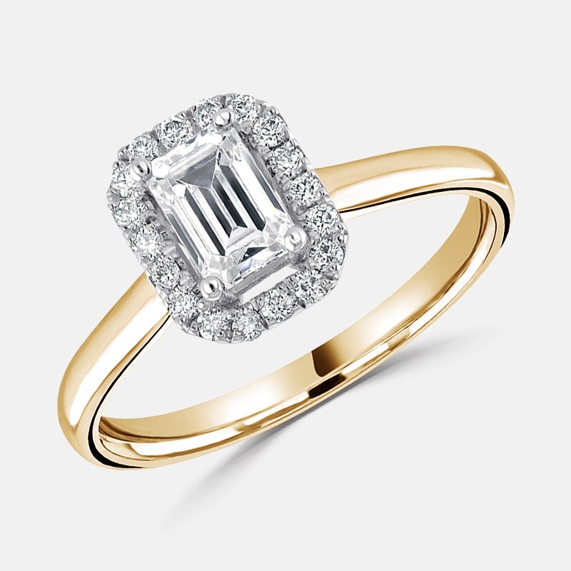 Emerald Cut Diamond Halo,<br> Plain Band,<br> 18ct Rose Gold Engagement Ring