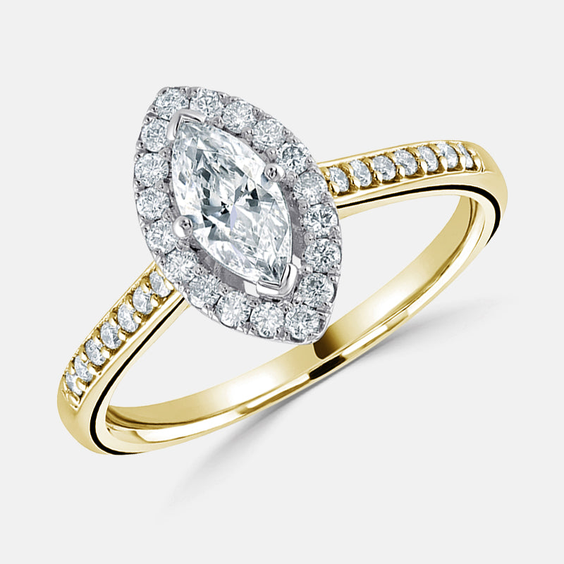 Marquise Cut Diamond Halo,<br> Diamond Set Shoulders,<br> 18ct Yellow Gold Engagement Ring
