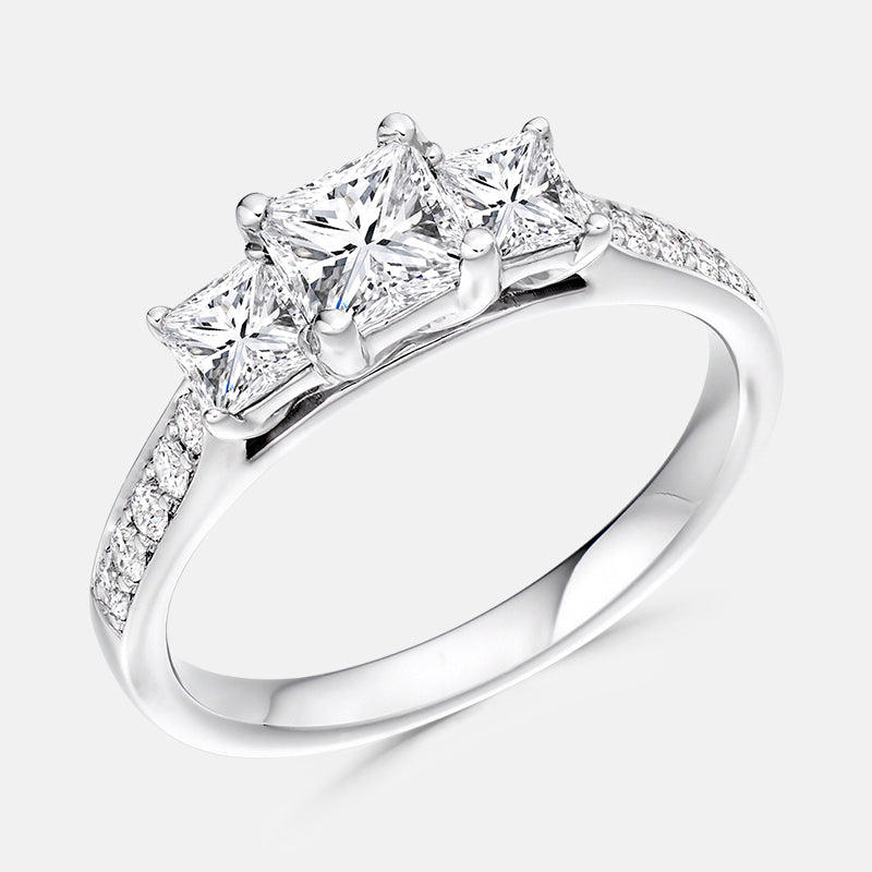 Three Stone Princess,<br> Diamond Shoulders,<br> Platinum Engagement Ring