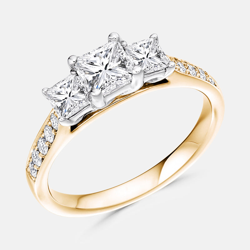 Three Stone Princess,<br> Diamond Shoulders,<br> 18ct Rose Gold Engagement Ring