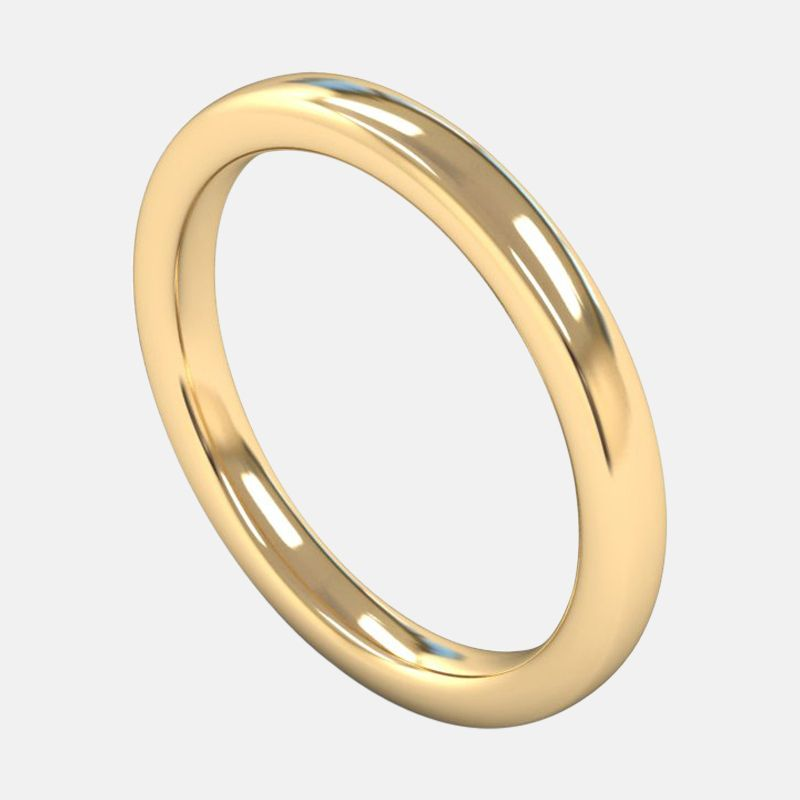 Ladies Extra Heavy Weight <br> Slight Court 2.5mm <br>Wedding Band in 18ct Yellow Gold