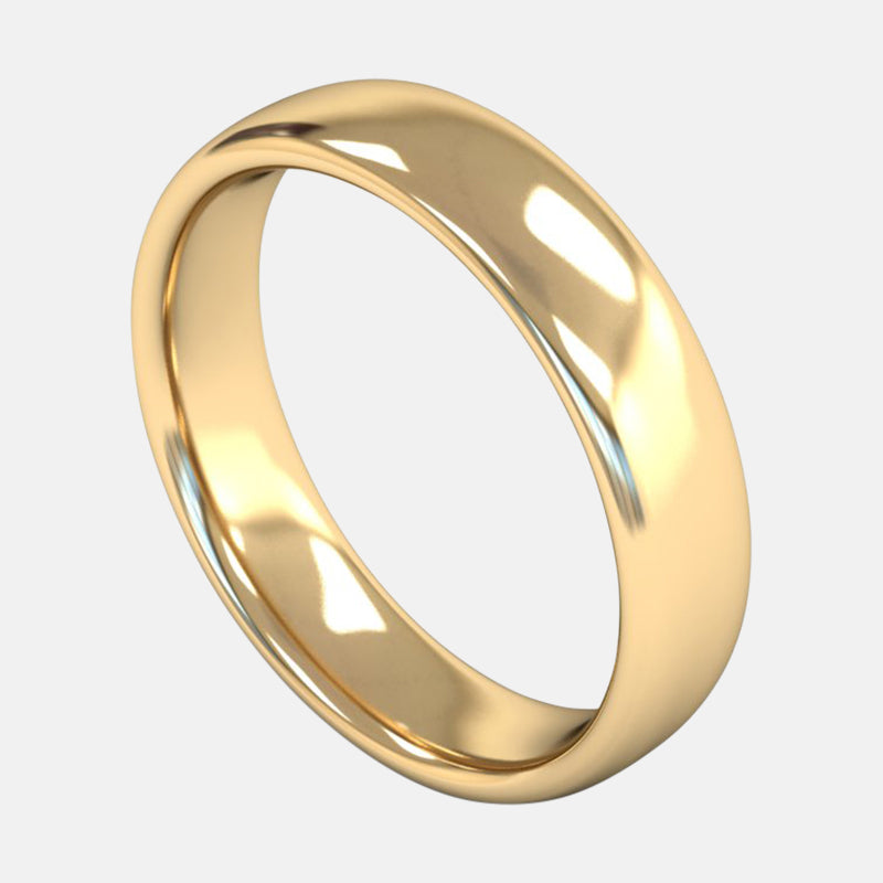 Mens Heavy Weight<br> Slight Court 5mm<br>Wedding Band in 18ct Yellow Gold