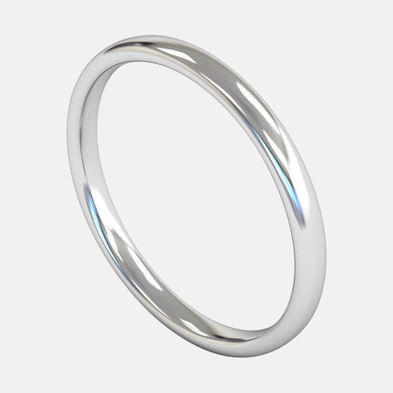 Ladies Medium Weight <br> Slight Court 2mm <br>Wedding Band in Platinum
