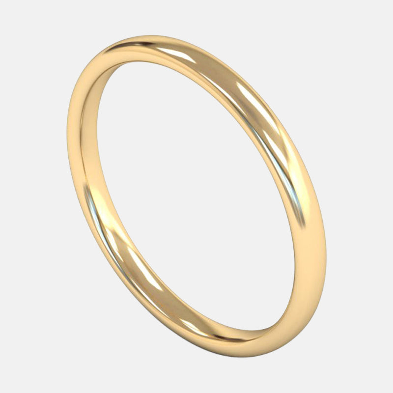 Ladies Medium Weight <br> Slight Court 2mm <br>Wedding Band in 18ct Yellow Gold