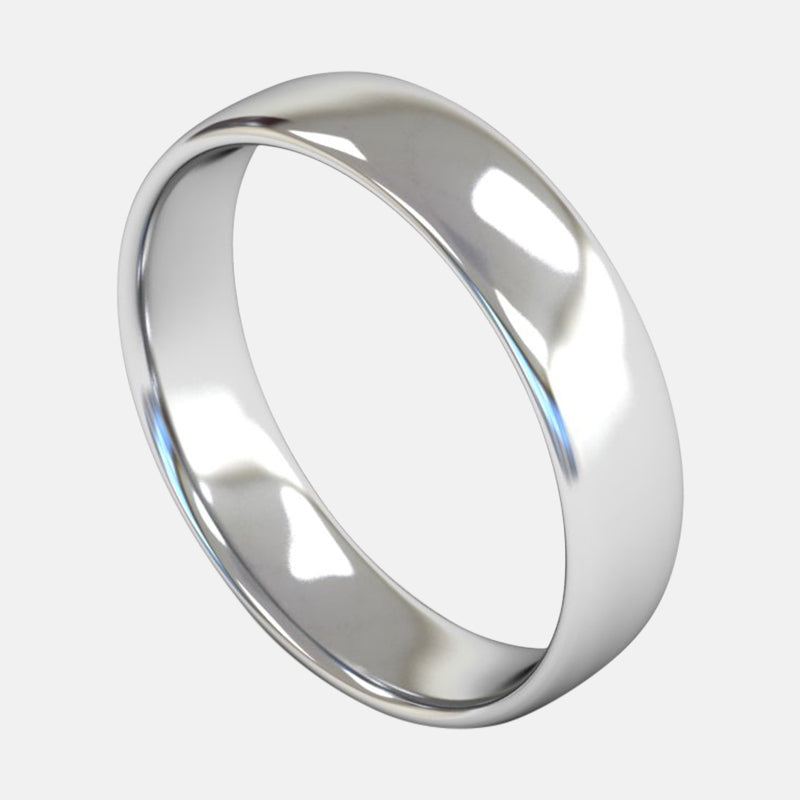 Mens Medium Weight<br> Slight Court 5mm<br>Wedding Band in 18ct White Gold