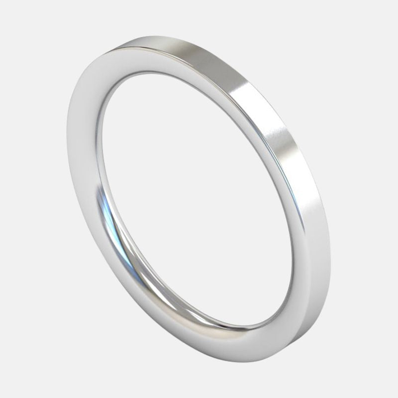 Ladies Extra Heavy Weight <br> Flat Court 2mm <br>Wedding Band in 18ct White Gold