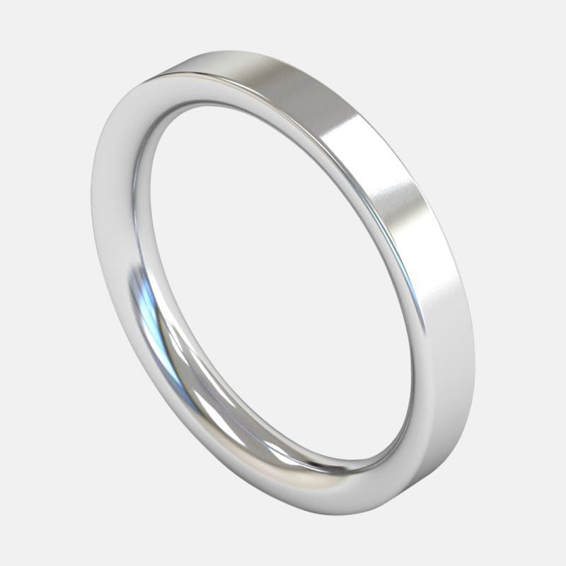 Ladies Extra Heavy Weight <br> Flat Court 3mm <br>Wedding Band in Platinum