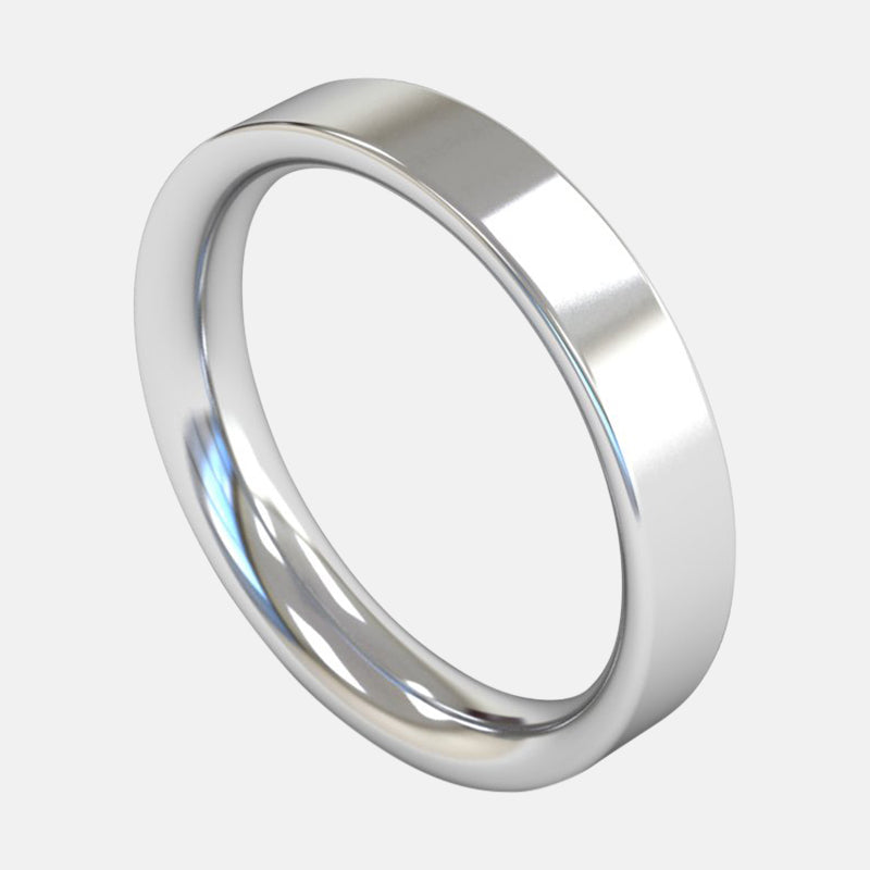 Mens Extra Heavy Weight <br> Flat Court 4mm <br>Wedding Band in 18ct White Gold