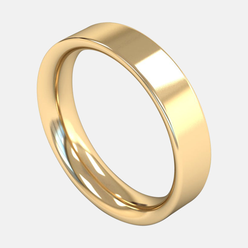 Mens Extra Heavy Weight <br> Flat Court 5mm <br>Wedding Band in 18ct Yellow Gold