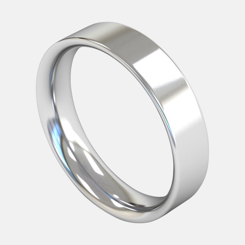 Mens Heavy Weight<br> Flat Court 5mm<br>Wedding Band in Platinum