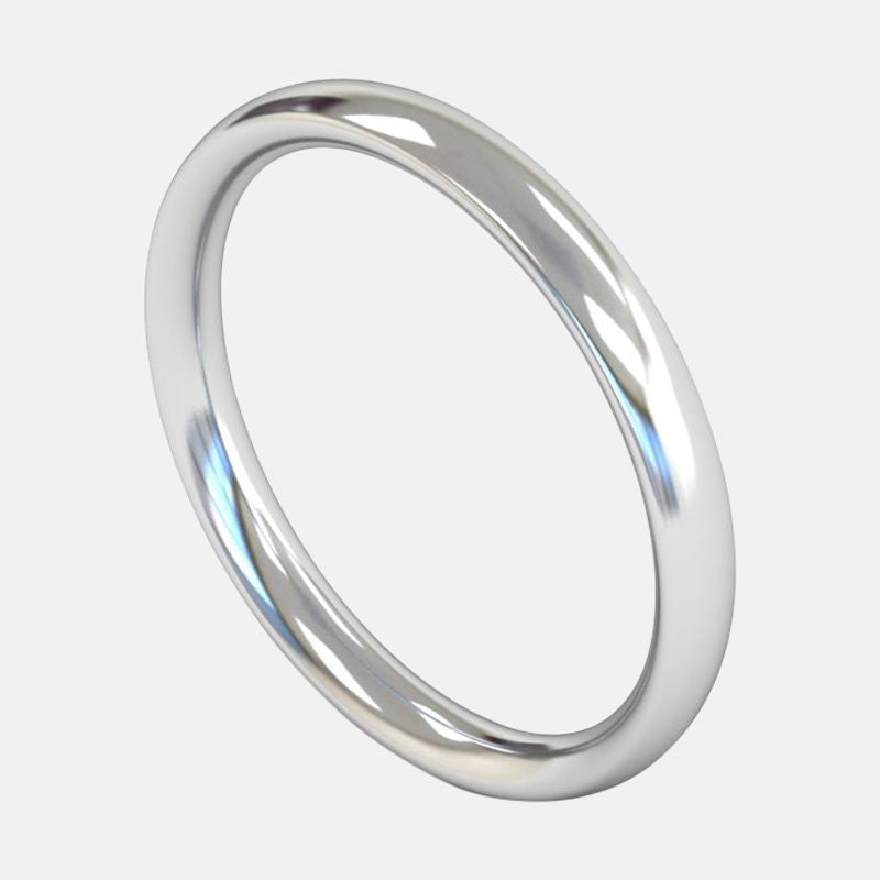 Ladies Heavy Weight <br> Traditional Court 2.5mm <br>Wedding Band in 18ct White Gold