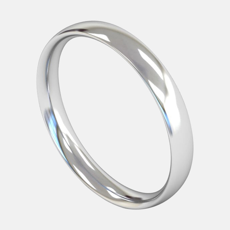 Ladies Medium Weight <br> Traditional Court 3mm <br>Wedding Band in Platinum