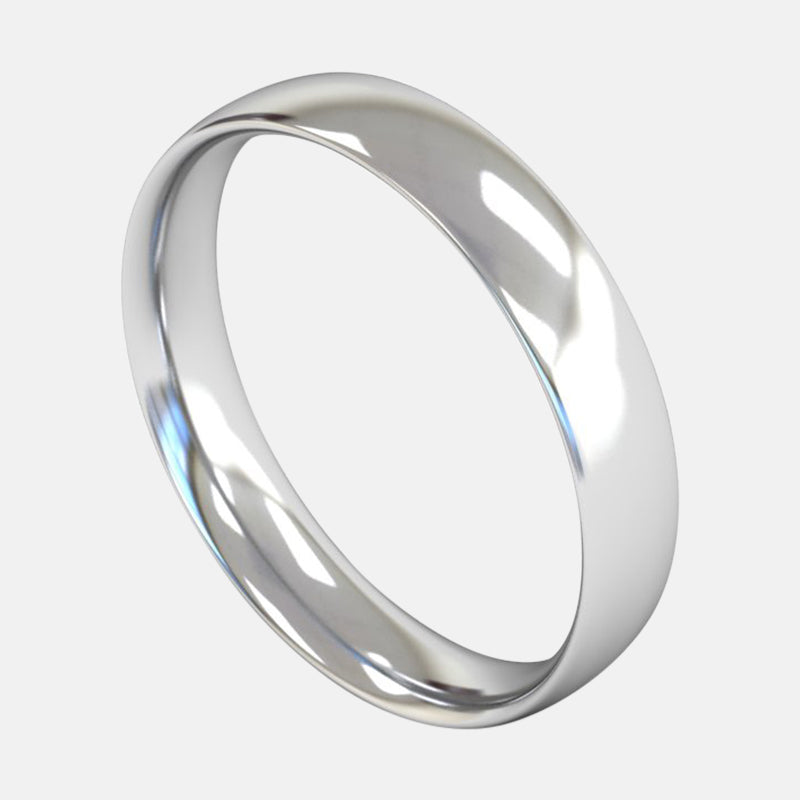 Mens Medium Weight<br> Traditional Court 4mm<br>Wedding Band in 18ct White Gold