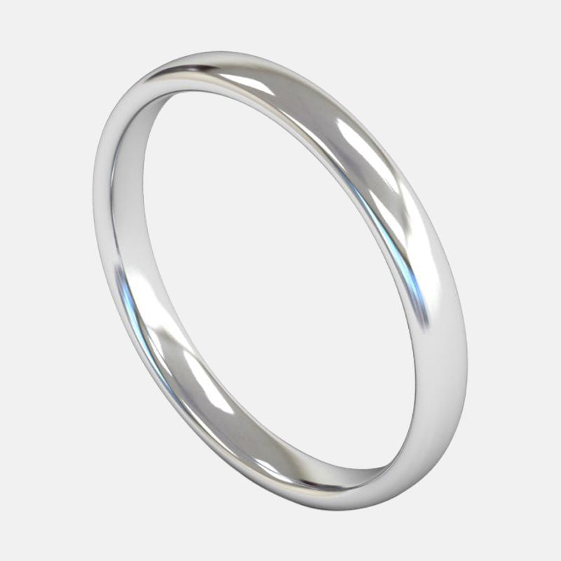 Ladies Medium Weight <br> Slight Court 2.5mm <br>Wedding Band in 18ct White Gold