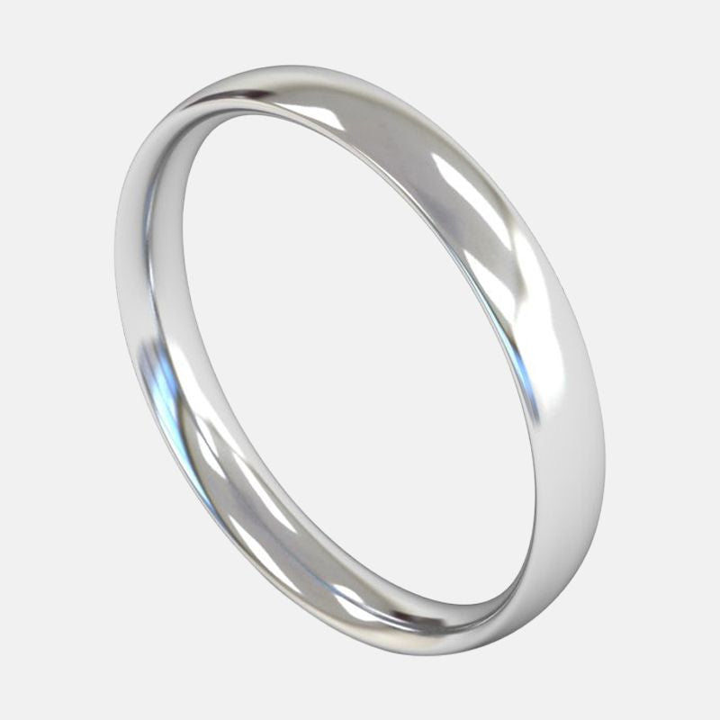 Ladies Medium Weight <br> Traditional Court 3mm <br>Wedding Band in 18ct White Gold
