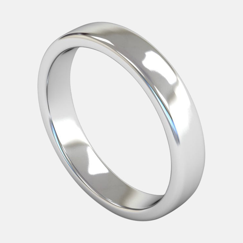 Mens Heavy Weight<br> Slight Flat Court Edge 4mm<br>Wedding Band in Platinum