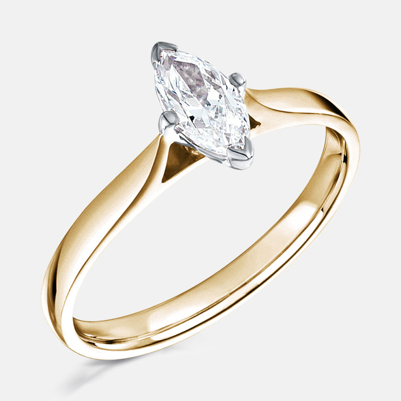 Marquise Solitaire 4 Claw,<br> Plain Band,<br> 18ct Rose Gold Engagement Ring