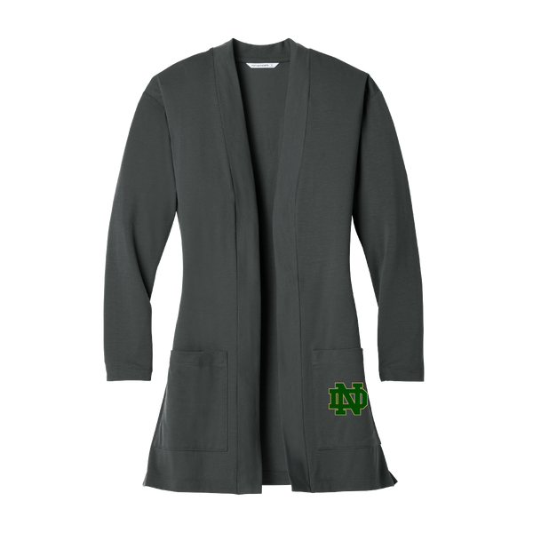 Notre Dame Ladies Charcoal Long Pocket Cardigan