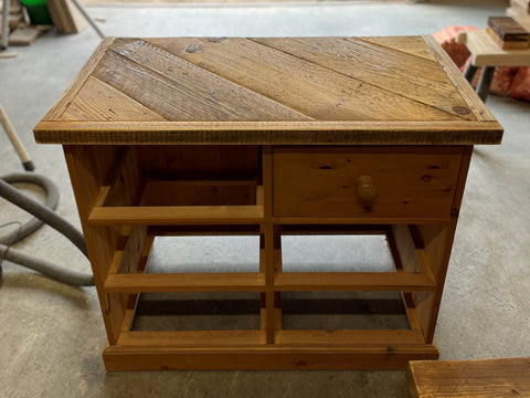 Pine drawers upcycled with scaffold boards