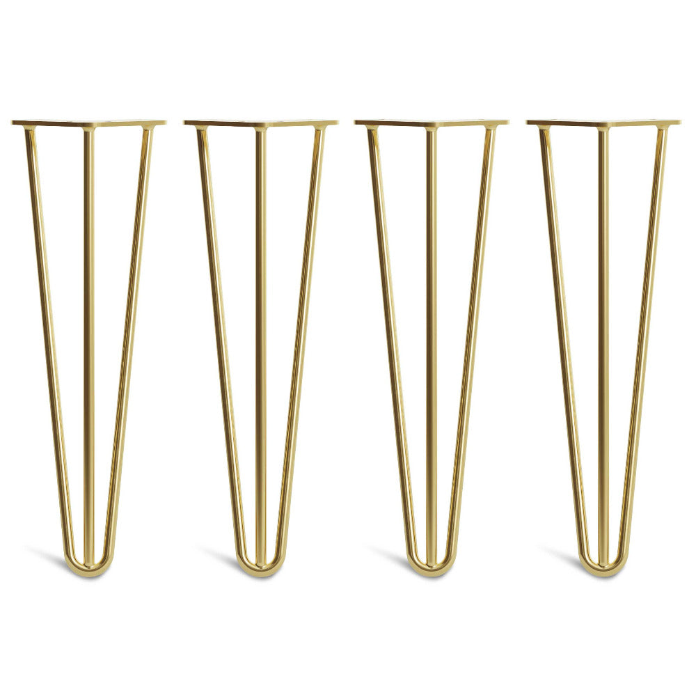 40cm 16inch hairpin legs in 3 rod design brass colour