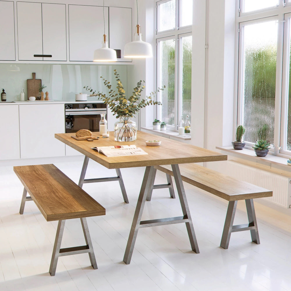 A-Frame industrial box section legs for tables and benches shown in kitchen setting