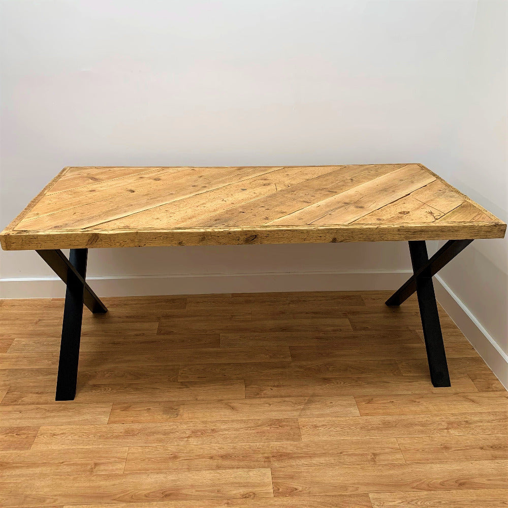 Reclaimed Scaffold Board Wooden Table with Industrial Legs