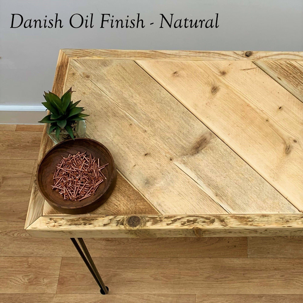Scaffold Desk with Danish Oil and Hairpin Legs