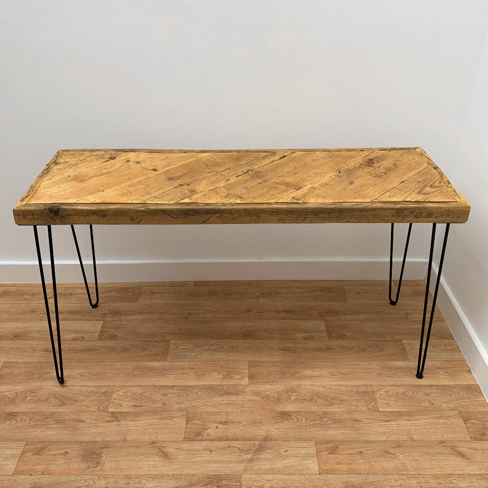 Scaffold Board Side Table in Antique Oil with Hairpin Legs