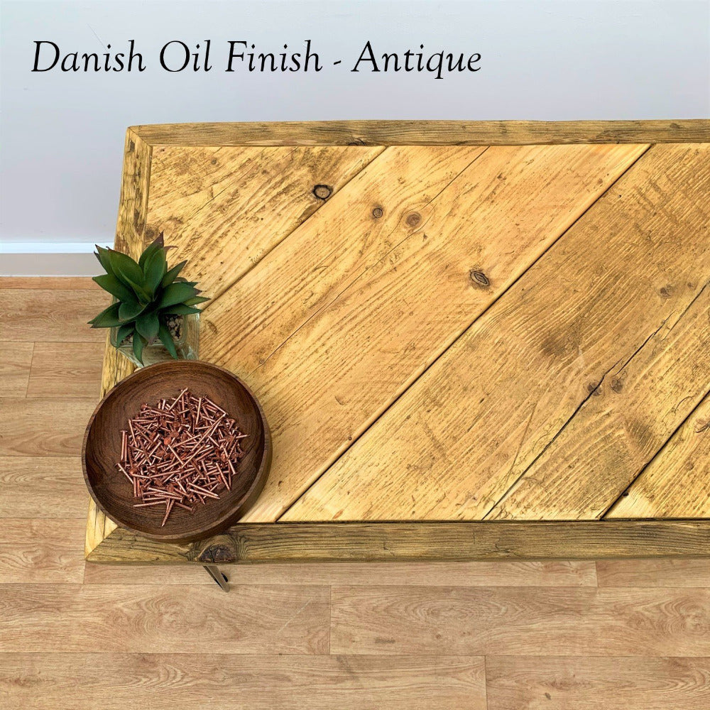 Antique Danish Oil Finish on Reclaimed Scaffold Board Bench