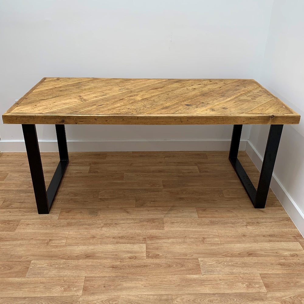 Chunky scaffold board table with square frame industrial legs and danish oil