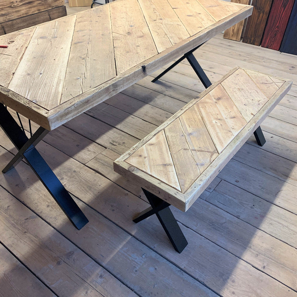 Reclaimed Scaffold Bench next to Dining Table at The Scaff Shop