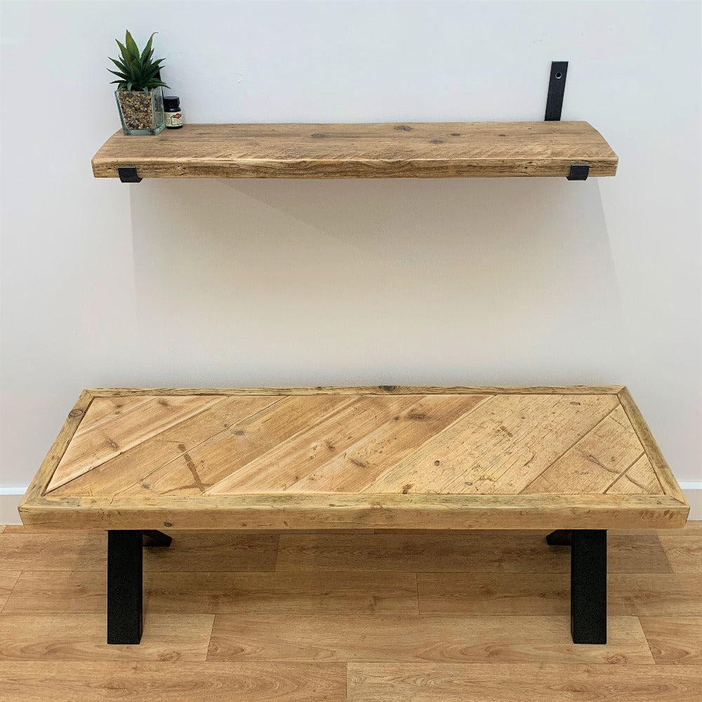 Reclaimed Scaffold Bench and Shelf