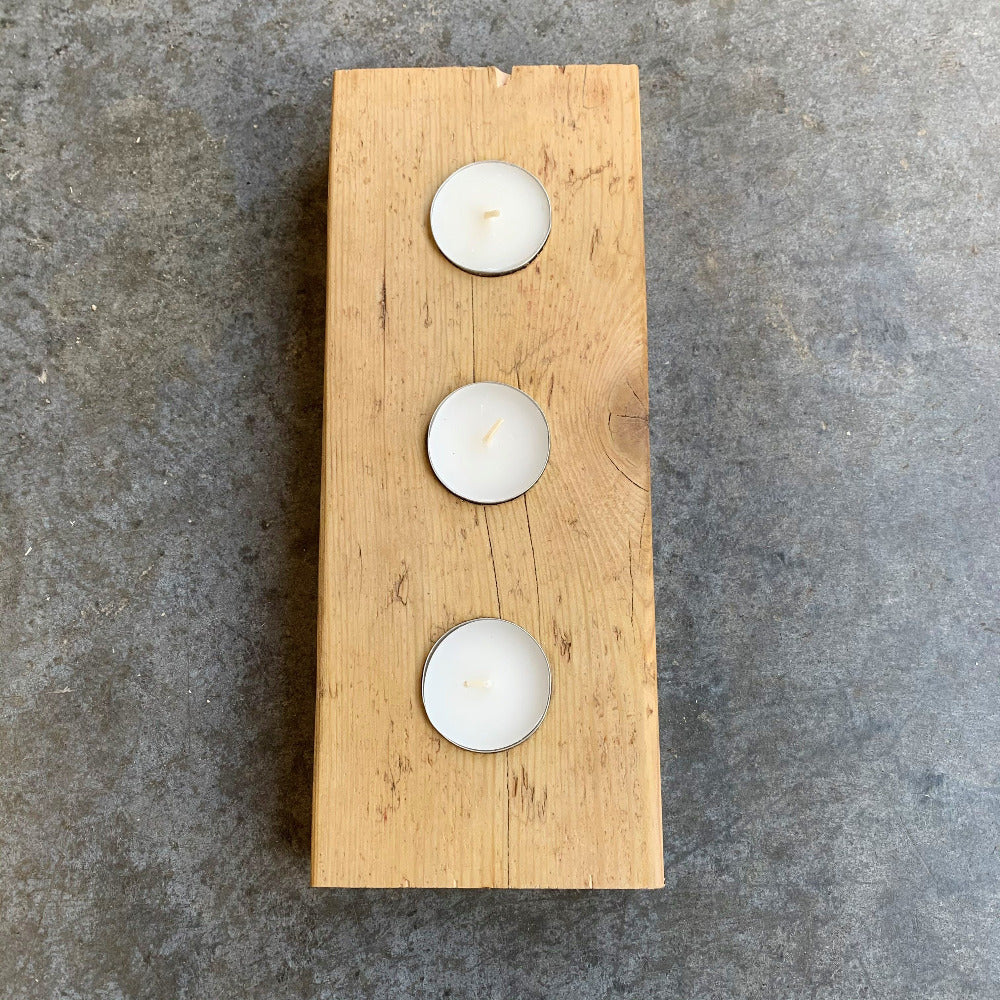 Natural finish in Danish oil on three candle tea light holder from The Scaff Shop
