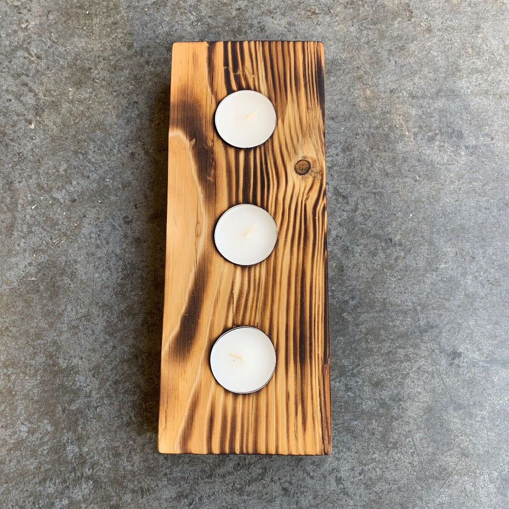 Scorched wood tea light holder with a wonderful flamed Shou Sugi Ban effect