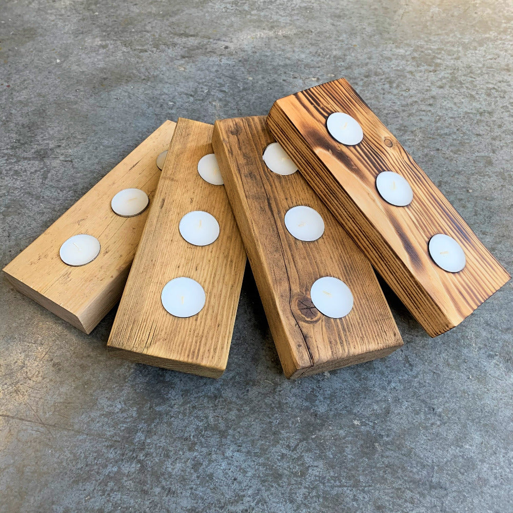 Selection of finished available on the square profile three light tea light holder