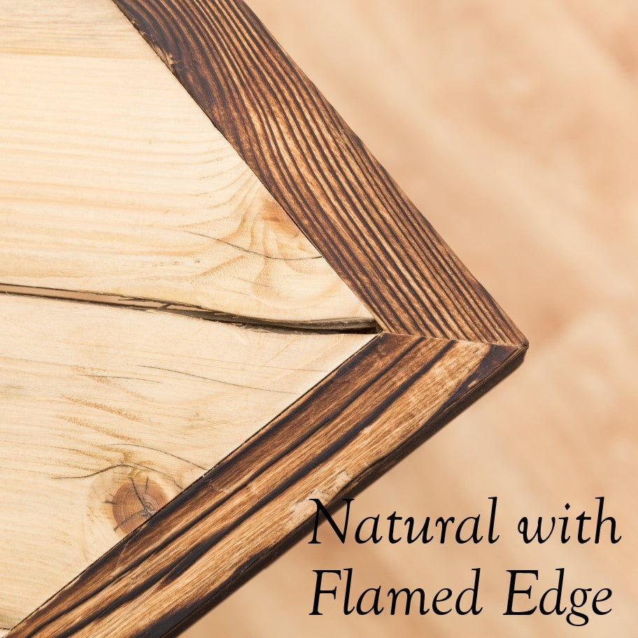 Flamed edge with natural finish on shou sugi ban table