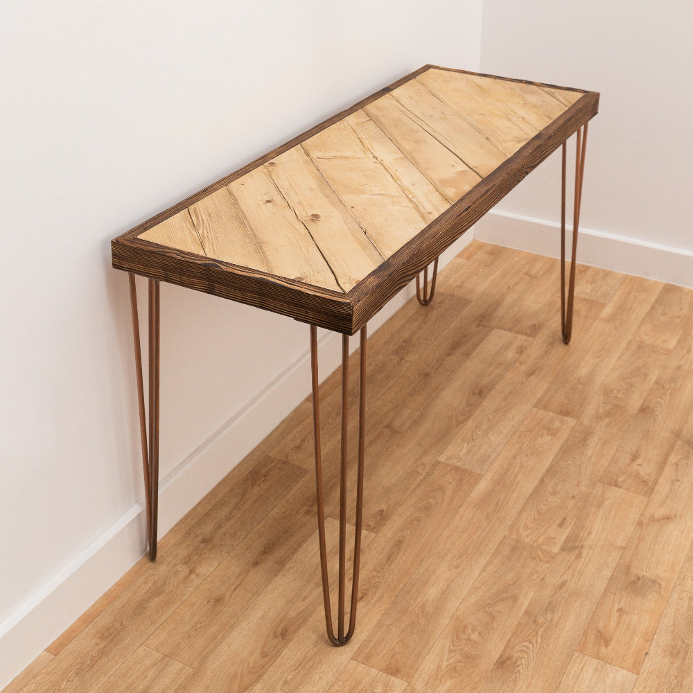 Reclaimed Scaffold Board desk or dining table with classic hairpin legs