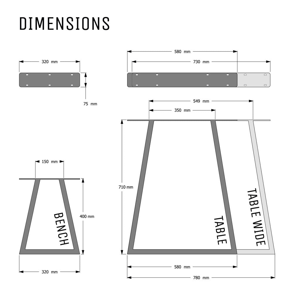 Dimensions diagram for industrial box section table legs