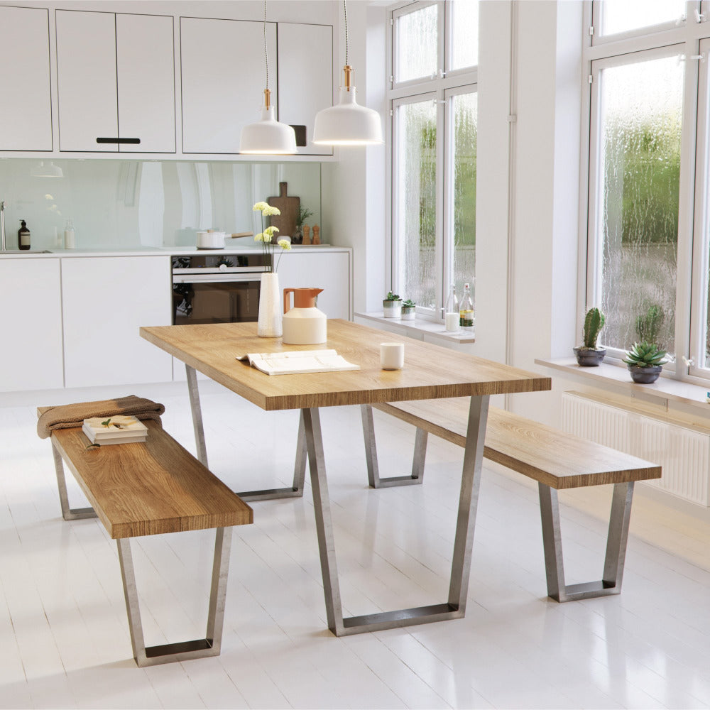 V Shaped industrial legs paired with tables or benches in kitchen