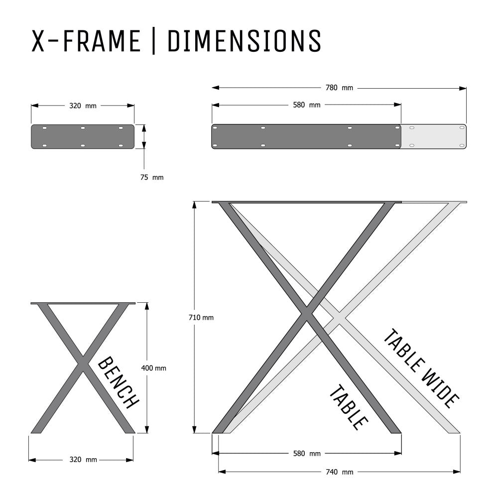 Dimensions diagram for X frame table and bench legs.